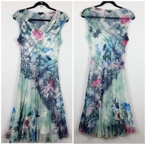 KOMAROV Dress V-Neck Cap Sleeve Watercolor Print